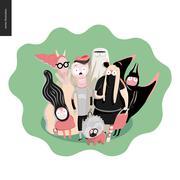 Treak or treat group of children Stock Illustration