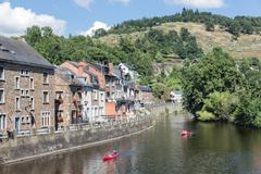 Kayaks at river Ourthe in La Roche-en-Ardenne, Belgium Stock Photos