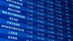 China's stock market crash, financial crisis, indexes abruptly falling on screen Stock Footage