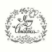 Merry Christmas Card. Winter Holiday Typography. Handdrawn Lettering. Frame With Stock Illustration