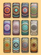 Phone cover collection, boho style pattern. Vector background. Vintage decora Stock Illustration