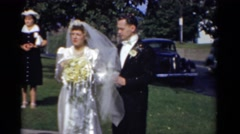 1943: bride and groom on wedding day BRIDGEPORT, CONNECTICUT Stock Footage