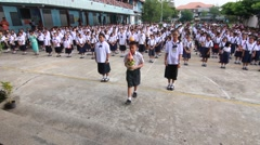 Bangkok City. Saluting the Queen of thailand. in Activity mother Day. Stock Footage
