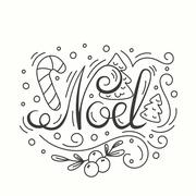 Noel Card. Winter Holiday Typography. Handdrawn Lettering. Poster With Line Art Stock Illustration