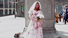 Shy, Bloodied zombie bride Stock Footage