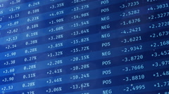 Stock exchange financial data moving on screen, economic indices rising, falling Stock Footage