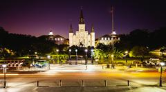 Jackson Square in New Orleans, Louisiana French Quarter at Night Stock Photos