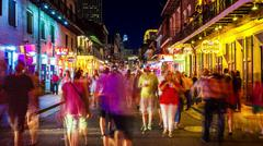 Bourbon Street at Night in The French Quarter of New Orleans, Louisiana Stock Photos