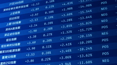 List of Chinese stock market indexes with indicators, numbers rising, falling Stock Footage