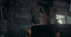 Incense smoke and warrior statue in Bai Dinh Temple, Vietnam Stock Footage