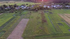 Aerial footage View from drone of village near forest Stock Footage