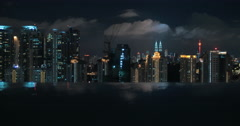 Night Kuala Lumpur, view from rooftop pool Stock Footage