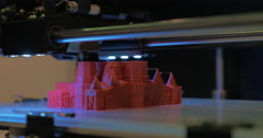 3D printer making model of St Basil Cathedral Stock Footage