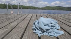 Man Emerging From Swim In Lake Stock Footage