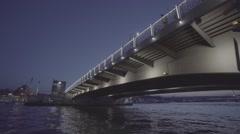 Bridge Sea Night S-log video Stock Footage