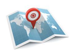 Pushpin on map Stock Illustration
