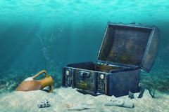 Beautiful collage of closed old wooden treasure chest submerged underwater wo Stock Photos