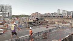 Construction workers on job site Stock Footage