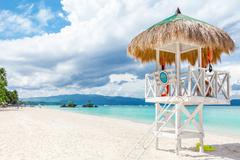 Pristine waters and white sand in Boracay Stock Photos