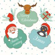 Set of cute cartoon Christmas and New Year elements. Hand drawn labels and Stock Illustration