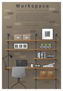 Interior design Modern workspace banner Piirros