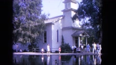 1962: church by the lake on a summer morning SAN PEDRO, CALIFORNIA Stock Footage