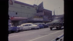 1962: driving down a road in the backseat of a car SAN PEDRO, CALIFORNIA Stock Footage