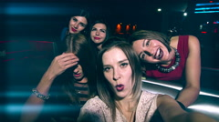 Beautiful girl at the party make selfie - celebrating birthday Stock Footage