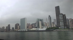 New York Skyline with the United Nations building Stock Footage