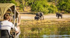 Tourists On Elephant Safari Africa Kuvituskuvat