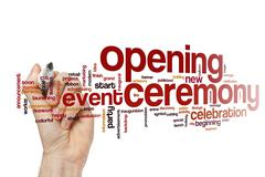 Opening ceremony word cloud concept Stock Illustration