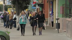 Russia Ivanovo woman in street 4K Stock Footage