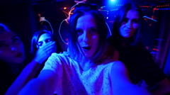 Beautiful girl at the party make selfie - disco birthday Stock Footage