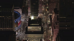 Aerial view at night of Madison Square Garden Stock Footage