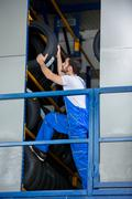 Auto mechanic recommended tire Stock Photos