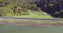 Aerial of dam and  lake and forest in Hunua, Auckland, New Zealand Stock Footage