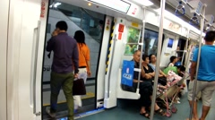 Passengers in the subway, in Shenzhen, China Stock Footage