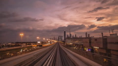 Dubai, a trip on the subway (monorails) time-lapse Stock Footage