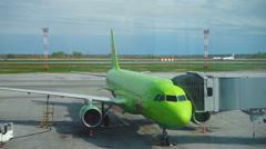 Turboprop airplane landing in Tolmachevo airport Stock Footage