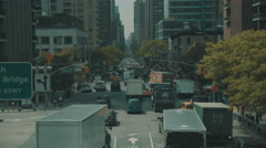 Aerial over 2nd Ave in New York City Stock Footage