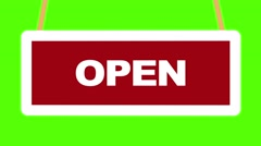 Open close sign flipping over loop green screen Stock Footage