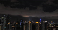 Woman enjoying night Kuala Lumpur view from rooftop pool Stock Footage