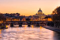 Sunset view of the Vatican city state Stock Photos