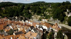 View Of Cesky Krumlov Old Town From State Castle and Chateau Cesky Stock Footage