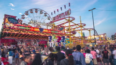 Toronto CNE The Ex Sunset Fair Crowds Rides Games Festival Himalaya Time-lapse Stock Footage