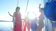 Beautiful girls dancing on a yacht - party and bachelorette party Stock Footage