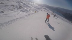 Blue Bird Skiing at Treble Cone in NZ Stock Footage