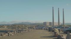 Smoke stacks in Morro Bay, California Stock Footage