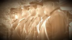 Civil War soldiers shoulder their guns (Archive Footage Version) Stock Footage