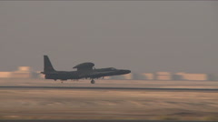 A U.S. Air Force U-2 spy reconnaissance plane takes off. Stock Footage